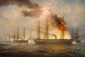The Battle of Heligoland by Josef Carl Barthold Puettner